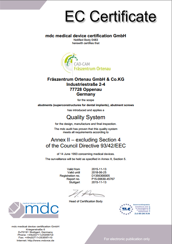 EG certificate: Quality system
